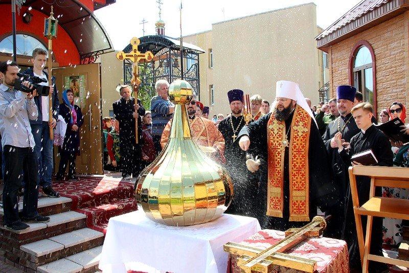 Архипастырь освятил крест и купол приходского дома Георгиевского храма города Рудни